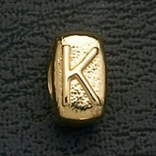 European Beads Charms Initial K Gold Plated Stainless Steel Charm Bracelet Bead