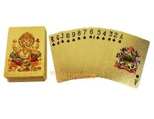 Ganesha Gold Playing Cards 24k Foil Plated Full Deck Poker Gamble Waterproof New