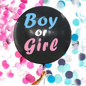 "Gender Reveal Black 36"" Balloon Baby Girl Pink & Baby Boy Blue Confetti KIT"