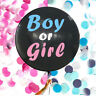 "Gender Reveal Black 36"" Balloon Baby Girl Pink & Baby Boy Blue Confetti KIT"