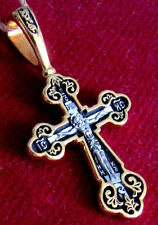 Russia Russian Cross Christ Bless And Save Silver 925 Gold 999 Plated #015.46