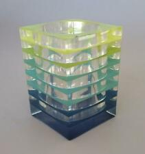 Op Art Acrylic Lucite Layers MCM Cube Holder Vase Space Age