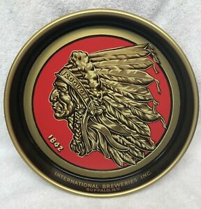 IROQUOIS INDIAN HEAD BEER & ALE TRAY 1842 INTERNATIONAL BREWERIES BUFFALO NY NOS