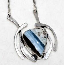 """Owhyee Blue Opal 925 Sterling Silver Plated Necklace 18"""" Christmas Gift GW"""