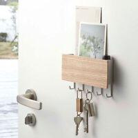Wooden Door Hanger Wall Mount Hooks Key Holder Rack Organizer Letter Boxes Brown