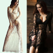Women Ladies Sexy Deep V Neck Long Sleeve Lace Transparent Bodycon Maxi Dress