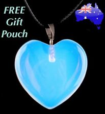 Real Natural Opal Opalite Crystal Quartz Heart Pendant Leather Necklace Gift New