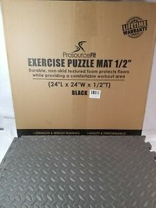 """Grey Puzzle Exercise Mat - Grey, 1/2"""" inch thick for Fit and Fun!"""