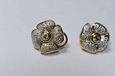 1ct Diamond 14K 2-Tone Gold 4 Leaf Clover Designer Flower Earrings 9 Gram FG VS1