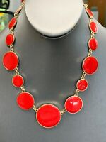 """Vintage Gold Enameled Bold Red  Gold Chain Link Necklace Statement  16"""" Long"""