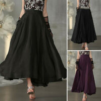 UK Women Elastic Waist A Line Long Skirts Ladies Casual Loose Swing Flared Dress