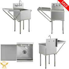 Drainboard Stainless Steel Commercial Utility Sink Mop Prep With Faucet Kitchen