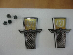 NOS 1965 FORD GALAXIE 427 FENDER EMBLEMS PAIR CUSTOM 500 LTD STATION WAGON