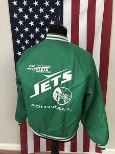 vtg New York Jets Football Satin Jacket men's LARGE made in usa green 80s 1c648