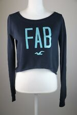 Hollister California Long Sleeve Crop Top Sweater Blue with FAB Letters Small