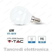 Lampadina led V-TAC 4W = 30W E14 bianco naturale 4500K VT-1819 minigolobo P45