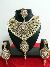 Indian Bollywood Diamante Kundan Pearl Gold Tone Necklace Costume Jewellery Set