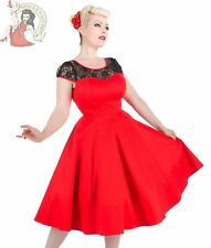 HEARTS & ROSES DRESS RED 50's LACE rockabilly cocktail