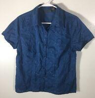 Women's Top Size M Blue Blouse Relativity Embroidered Medium Cotton Short Sleeve
