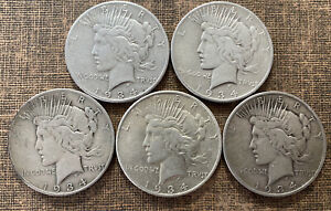 1934 S Peace Silver Dollars 90% Lot of 5