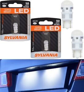 Sylvania ZEVO LED Light 168 White 6000K Two Bulbs License Plate Replacement JDM