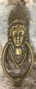 Antique Victorian Art Nouveau Bronze Gold gilt Door Knocker woman Lady Luck