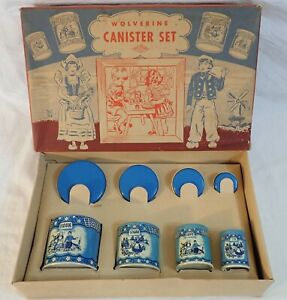 VINTAGE WOLVERINE #261 MADE IN USA TOY TIN LITHO DELFT BLUE CANISTER SET w/ BOX
