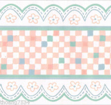 Patchwork Stitch Gingham Pink Green Blue Check Nursery Kids Wall paper Border