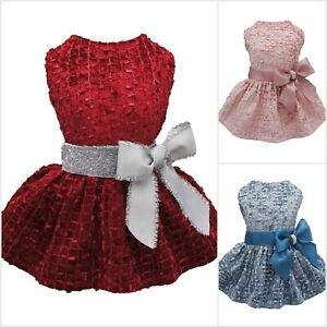 Fitwarm Embroidery Velvet Dog Dress Pet Party Clothes Winter Apparel Bowknot NEW