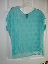 Shi Turquoise Floral Design Lace See-Through Cover/Top Euro Sz 42/US L/XL