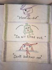 Vtg 12pc Set 1940-50's Embroider Bar Cloth Linen Towel FUNNY GIFTS Novelty Towel