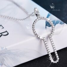 18k white gold gp made with SWAROVSKI crystal keyhole pendant necklace cute