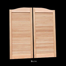 """CAFE DOOR *OAK* LOUVER 30""""W Saloon Swinging Pub Bar Western with Gravity Hinges"""
