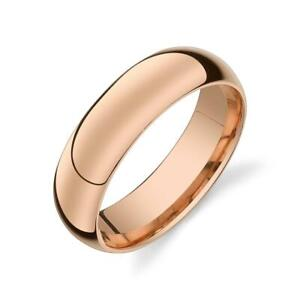6mm Traditional Titanium Wedding Band Ring Classic Rose Gold Plated ComfortFit