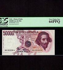 Italy 50,000 Lire 1984 P-113a * PCGS Unc 64 PPQ * G.L. Bernini *
