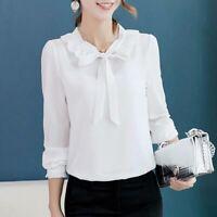 Ladies Fashion Blouse Summer Women Long Sleeve Chiffon Loose Shirt Top T-Shirt
