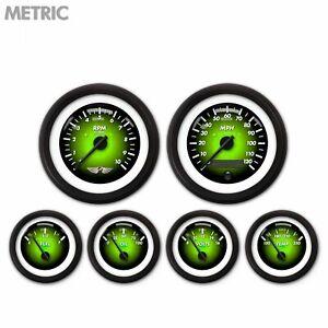 6 Gauge Set Speedo Tach Oil Temp Fuel Volt Metric Pulsar Green Black LED 043-WC