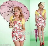 NWT Tatyana SASSY OVERALL SHORTS Retro 50s Spring Floral Romper Playsuit XS-4XL