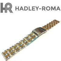 18mm HADLEY-ROMA MB4437T SOLID TWO TONE STAINLESS STEEL WATCH BRACELET BAND