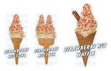 Strawberry & Nuts Whippy Ice Cream Cone Stickers Set of 3 - Single Twin & Waffle