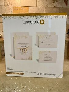 NEW Celebrate It Wedding Invitation Kit Printable Gold Foil Floral 30ct