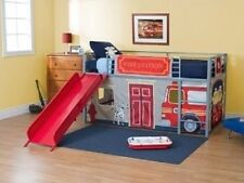 Boys Loft Bed Fire Department Bunkbed Slide Set Twin Kids Bedroom Furniture Bunk