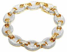 Men's 10k Yellow Gold Genuine Diamond 14mm Puff Mariner GG Bracelet 5 Ct 8.5