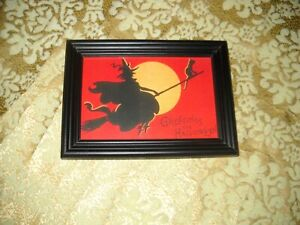 WITCH RIDES BROOM WITH BLACK CAT 4 X 6 black WOOD frame Victorian style print