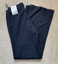 Laura Ashley Navy Check Trousers Pink Check NEW Sz 8 SHORT Boot Cut Smart Work