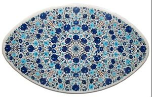 Oval Marble Dining Table Top Blue Stone Inlaid Work Office Table 36 x 60 Inches