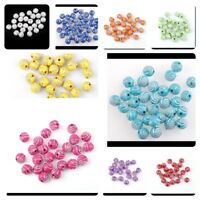 50 X 10MM SPARKING WHITE SILVER SWIRL ACRYLIC ROUND BEADS FOR JEWELLERY MAKING