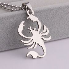 """316L Stainless Steel Pendant 0.86 X1.46 Inch Scorpion  Silver  Necklace 22"""" B27"""