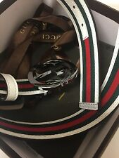 110 cm Men' Leather GUCCI Belt White Green Red Size 36-42