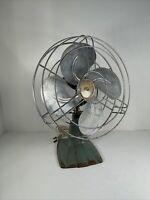 Vintage Polar Cub Electric Oscillating Desk Fan Green Blue P-10246 WORKS MCM